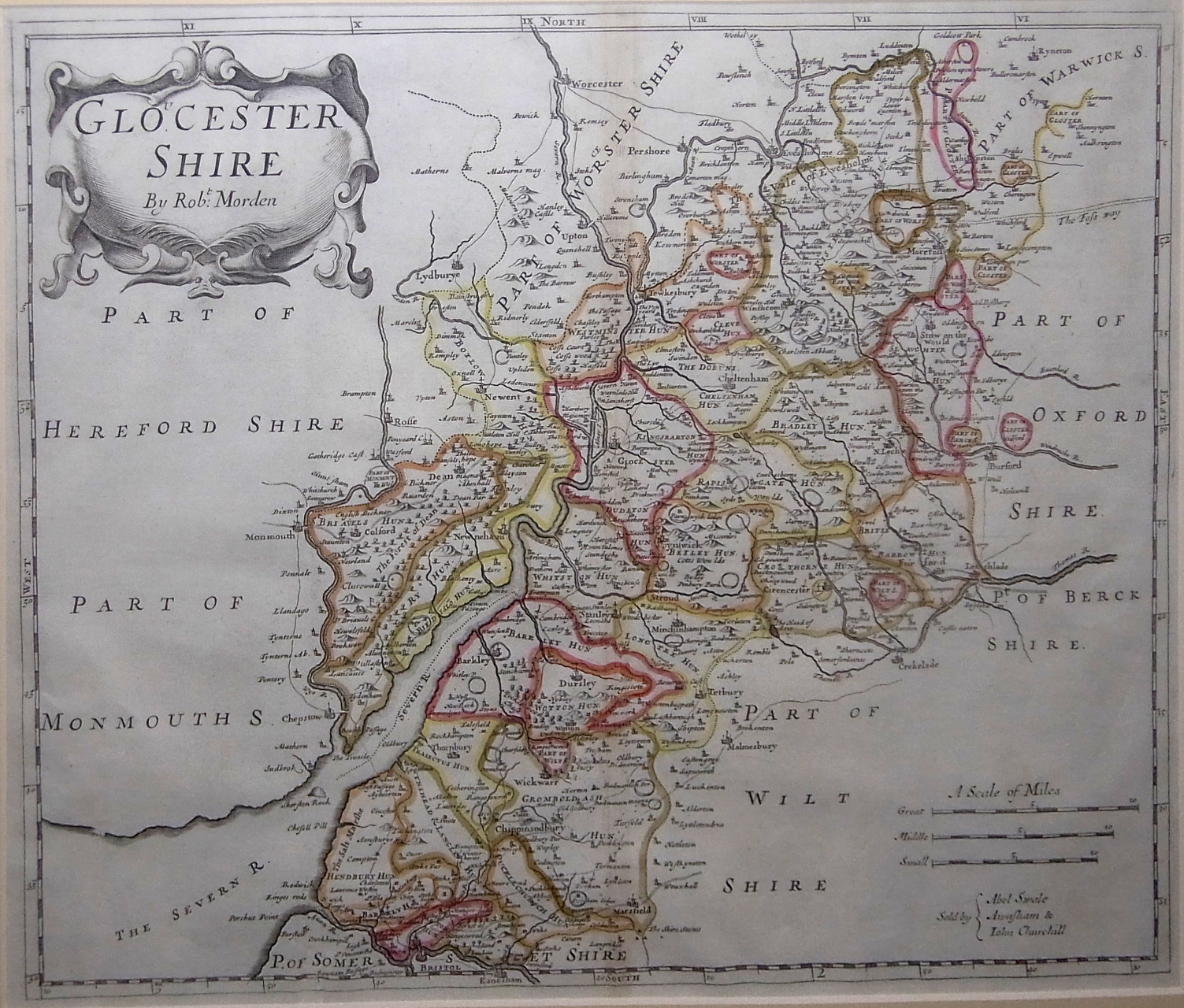 OLD COPY OF JOHN SPEED MAP OF GLOCESTERSHIRE GLOUCESTERSHIRE TOWN PLAN